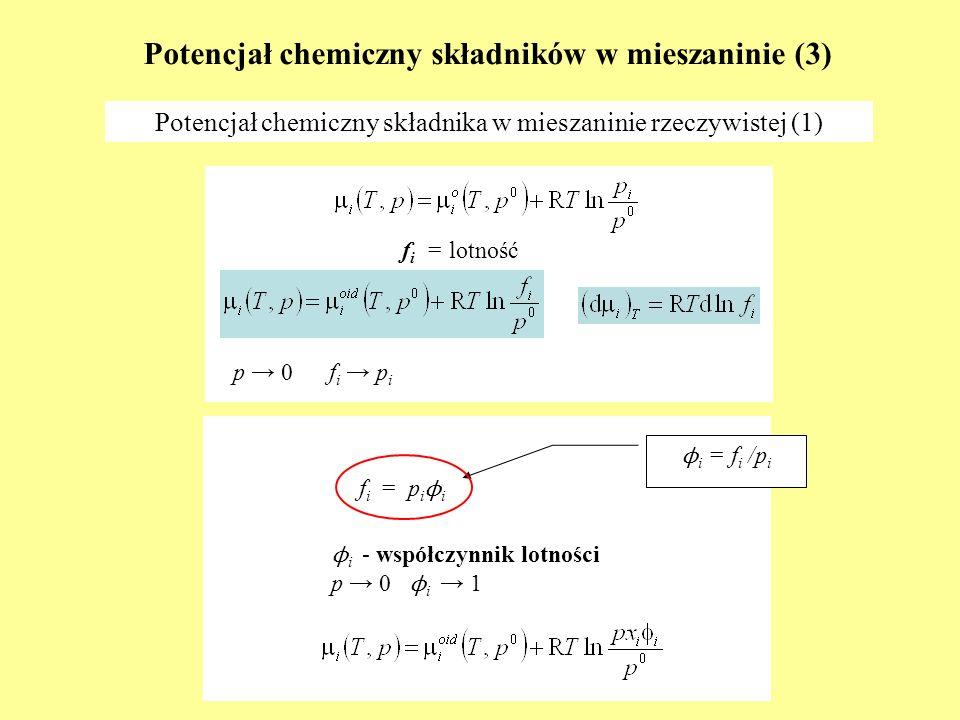 Potencjał chemiczny składników w mieszaninie (3) Potencjał chemiczny składnika w mieszaninie rzeczywistej (1) ϕ i = f i /p i f i = lotność p 0 f i p i