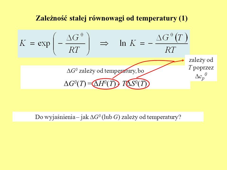 Zależność stałej równowagi od temperatury (1) ΔG 0 zależy od temperatury, bo ΔG 0 (T) = ΔH 0 (T) - TΔS 0 (T) Do wyjaśnienia – jak ΔG 0 (lub G) zależy