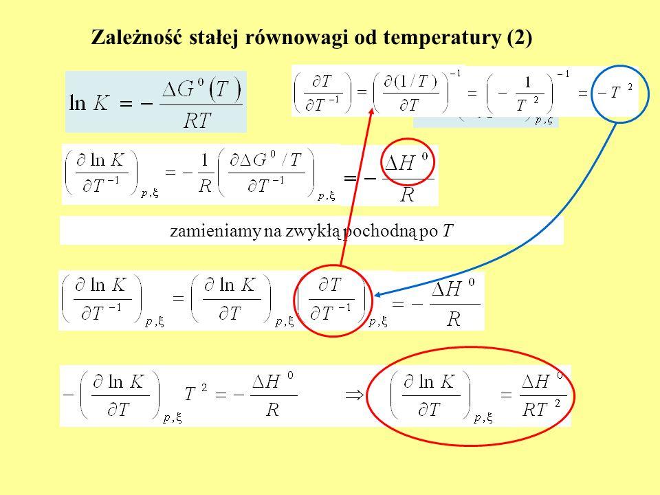 Zależność stałej równowagi od temperatury (2) zamieniamy na zwykłą pochodną po T