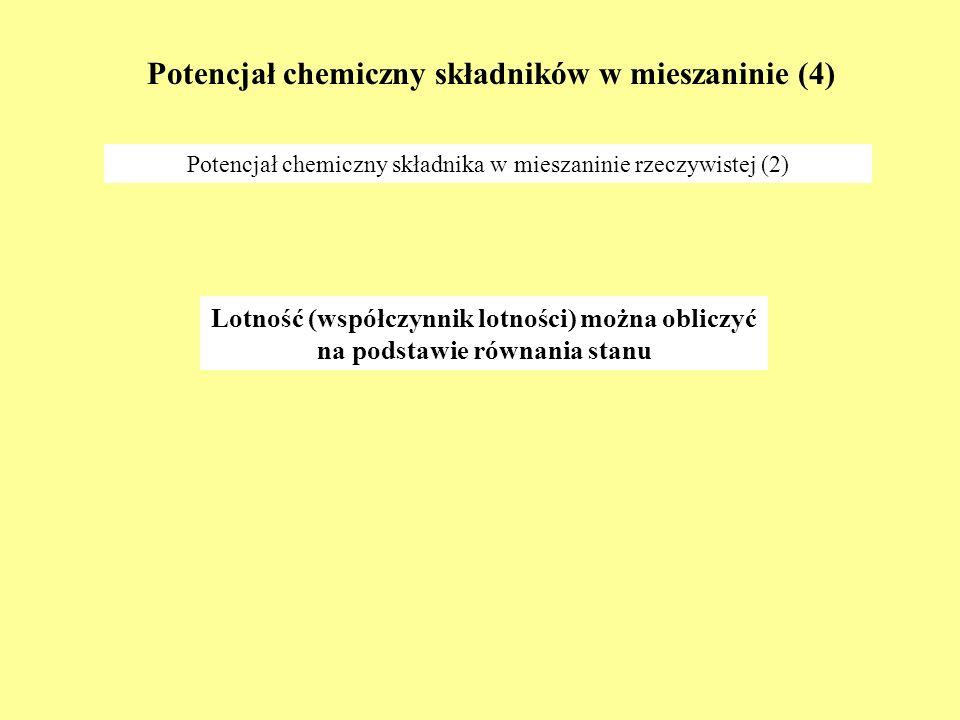 Potencjał chemiczny składników w mieszaninie (5) Roztwór doskonały (1) Potencjał chemiczny składnika w mieszaninie gazów doskonałych Fenomenologiczna definicja roztworu doskonałego: Roztwór doskonały to mieszanina, w której potencjały chemiczne wszystkich składników wyrażają się powyższym wzorem.