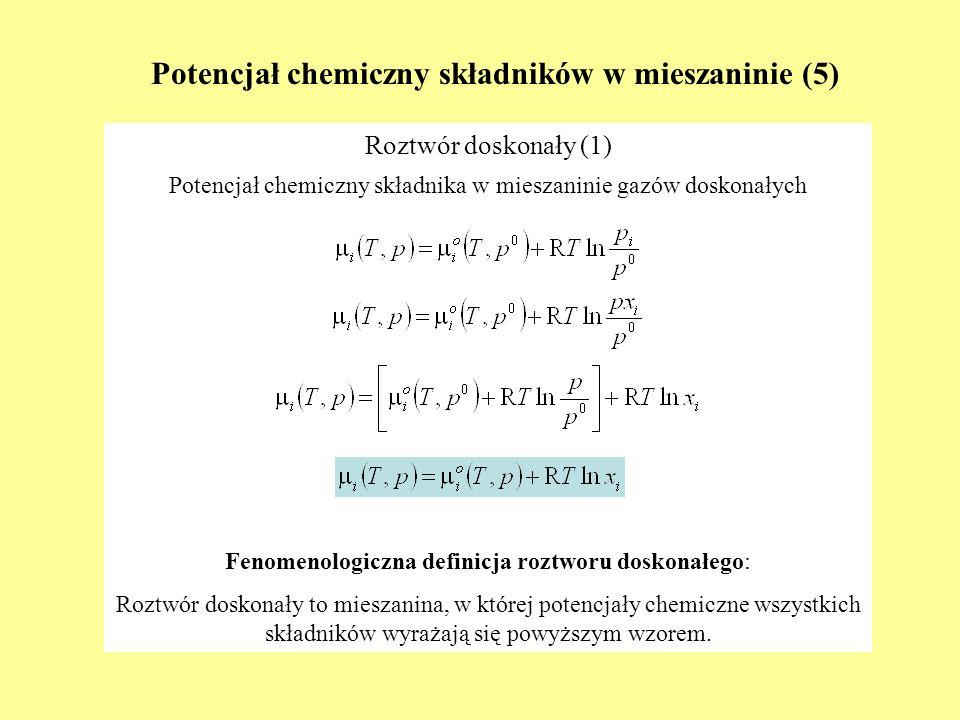 Zmienna reakcji (3) 2HCl (g) + COCl 2(g) = H 2 O (g) + C (grafit) + 2Cl 2(g) początkowe liczby moli reagentów: ξ max Wyznaczanie zakresu zmienności ξ - przykład nionio ξ max/min 1HCl (g) 5 2COCl 2(g) 2 3H 2 O (g) 3 4C (grafit) 2 5Cl 2(g) 1 2,5 2 -3 -2 -0,5 ξ min -3-2-0,5 0 22,5 ξ min ξ max brakuje COCl 2 brakuje Cl 2 -0,5 ξ 2
