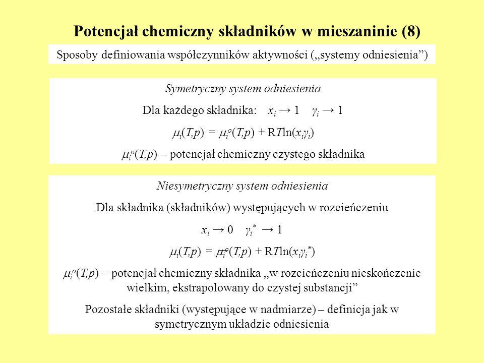 Potencjał chemiczny składników w mieszaninie (8) Sposoby definiowania współczynników aktywności (systemy odniesienia) Symetryczny system odniesienia D