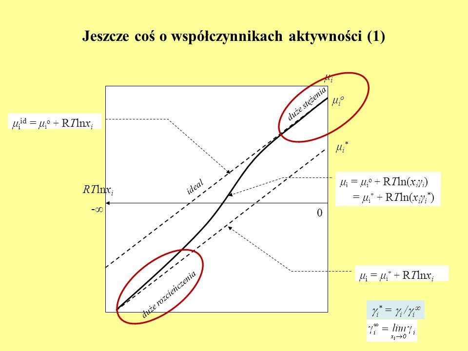Jeszcze coś o współczynnikach aktywności (1) RTlnx i μiμi 0 - μ i id = μ i o + RTlnx i ideal μioμio duże stężenia duże rozcieńczenia μ i = μ i * + RTl