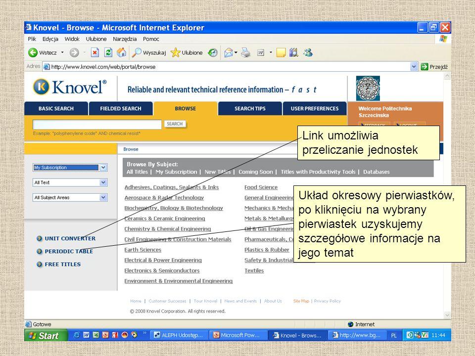 Link umożliwia przeliczanie jednostek Układ okresowy pierwiastków, po kliknięciu na wybrany pierwiastek uzyskujemy szczegółowe informacje na jego tema