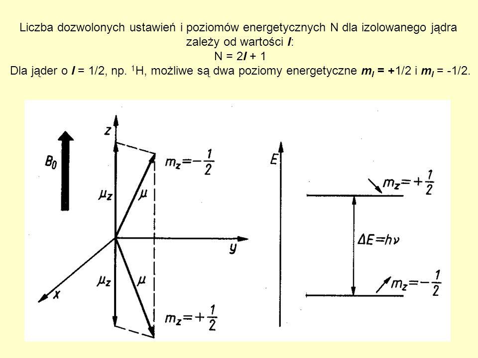 Liczba dozwolonych ustawień i poziomów energetycznych N dla izolowanego jądra zależy od wartości I: N = 2I + 1 Dla jąder o I = 1/2, np. 1 H, możliwe s