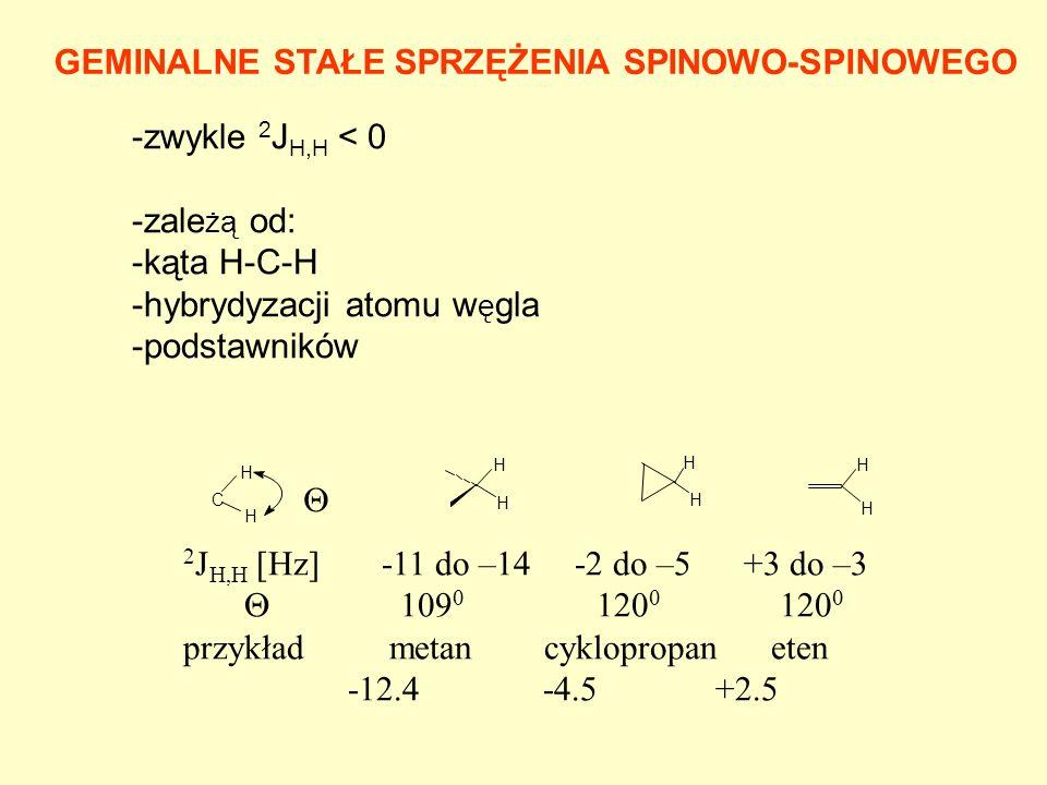 GEMINALNE STAŁE SPRZĘŻENIA SPINOWO-SPINOWEGO -zwykle 2 J H,H < 0 -zale żą od: -kąta H-C-H -hybrydyzacji atomu w ę gla -podstawników C H H H H H H H H