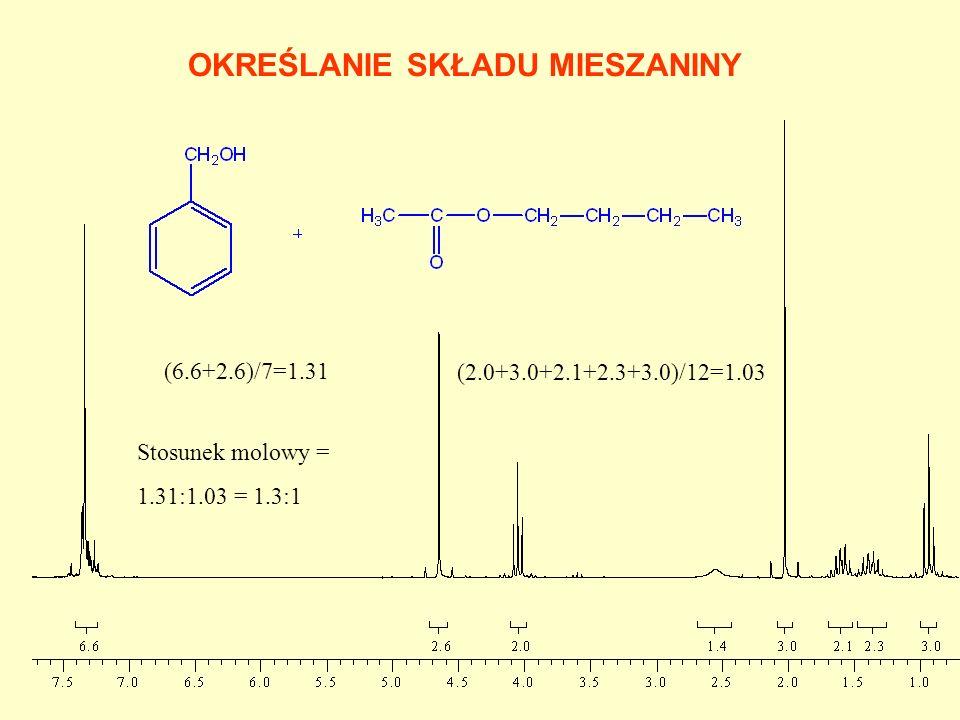 OKREŚLANIE SKŁADU MIESZANINY (6.6+2.6)/7=1.31 (2.0+3.0+2.1+2.3+3.0)/12=1.03 Stosunek molowy = 1.31:1.03 = 1.3:1