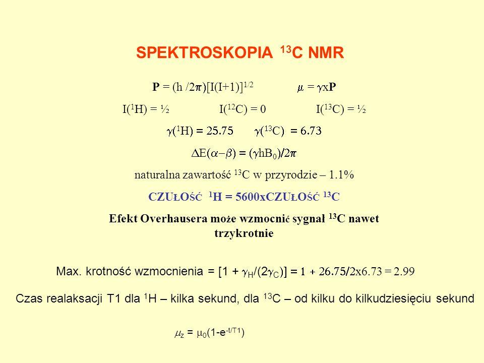 SPEKTROSKOPIA 13 C NMR P = (h /2 [I(I+1)] 1/2 = xP I( 1 H) = ½ I( 12 C) = 0I( 13 C) = ½ 1 H C E hB 0 naturalna zawartość 13 C w przyrodzie – 1.1% CZU