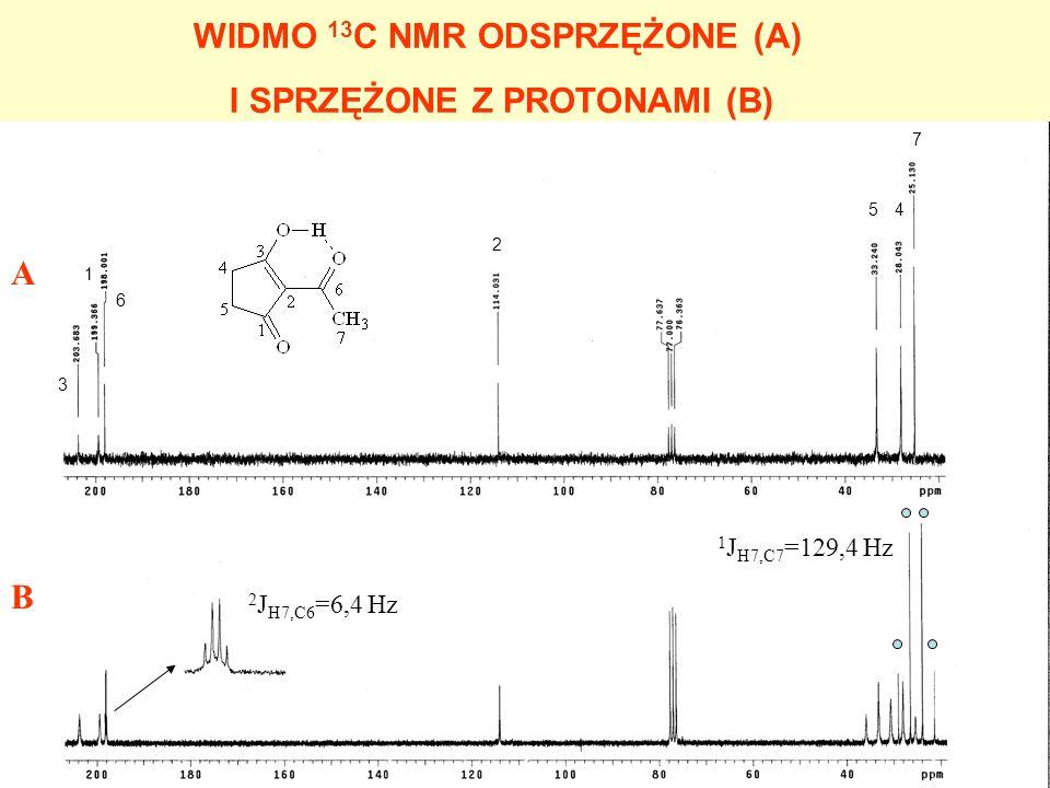 WIDMO 13 C NMR ODSPRZĘŻONE (A) I SPRZĘŻONE Z PROTONAMI (B) A B 4 3 1 6 2 5 7 2 J H7,C6 =6,4 Hz 1 J H7,C7 =129,4 Hz