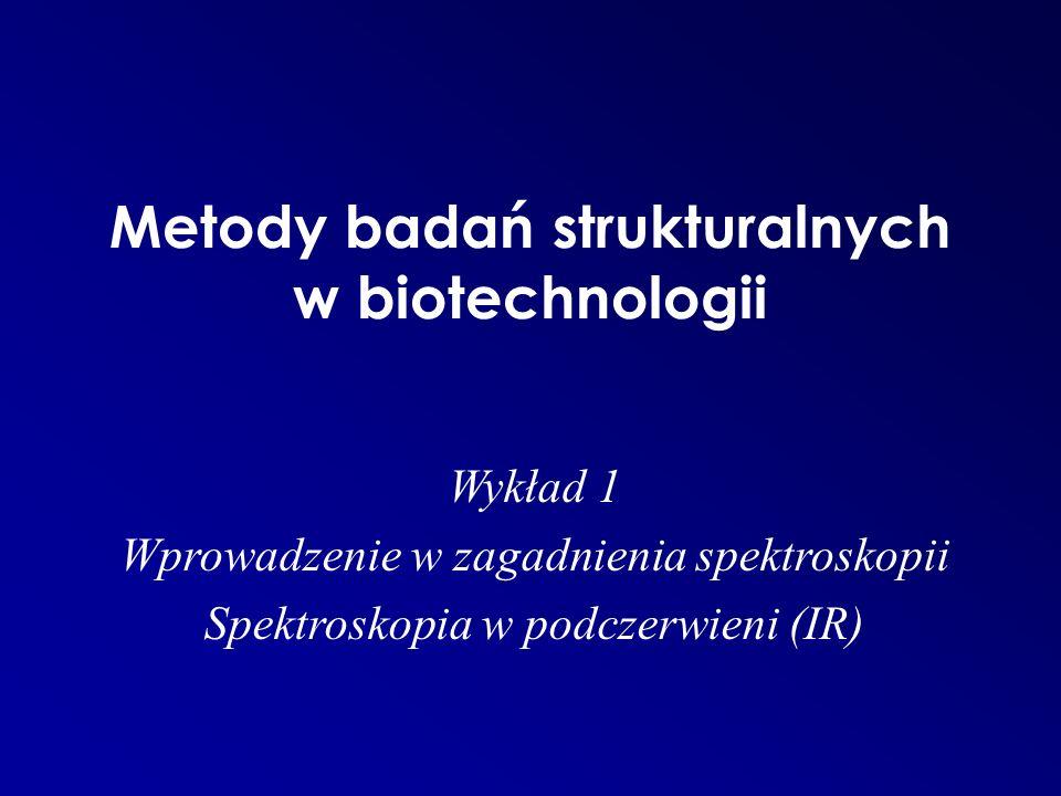 Metody badań strukturalnych w biotechnologii Wykład 1 Wprowadzenie w zagadnienia spektroskopii Spektroskopia w podczerwieni (IR)