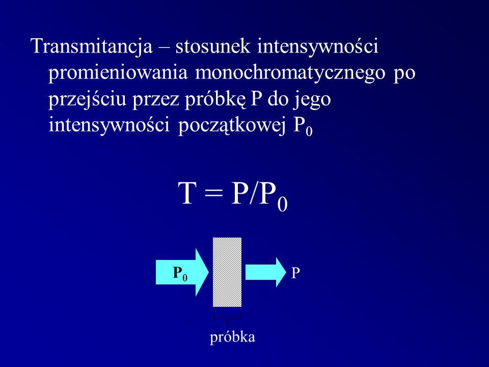 Transmitancja – stosunek intensywności promieniowania monochromatycznego po przejściu przez próbkę P do jego intensywności początkowej P 0 T = P/P 0 P0P0 P próbka