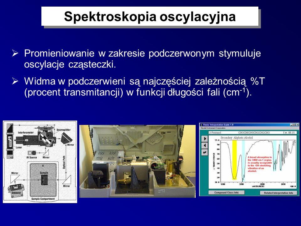 Spektroskopia oscylacyjna Promieniowanie w zakresie podczerwonym stymuluje oscylacje cząsteczki. Widma w podczerwieni są najczęściej zależnością %T (p