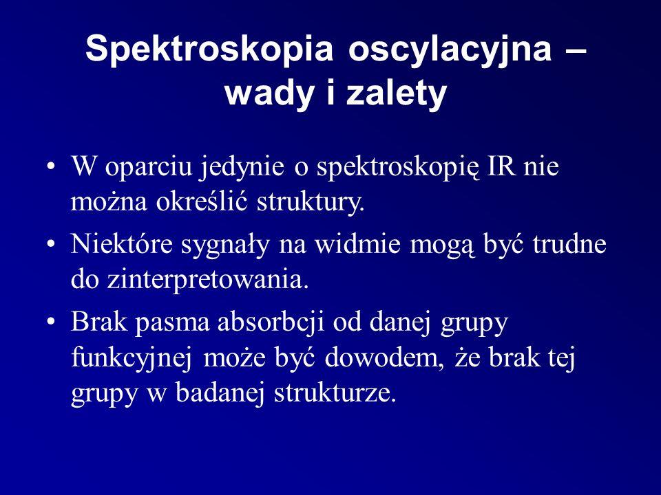 Spektroskopia oscylacyjna – wady i zalety W oparciu jedynie o spektroskopię IR nie można określić struktury.