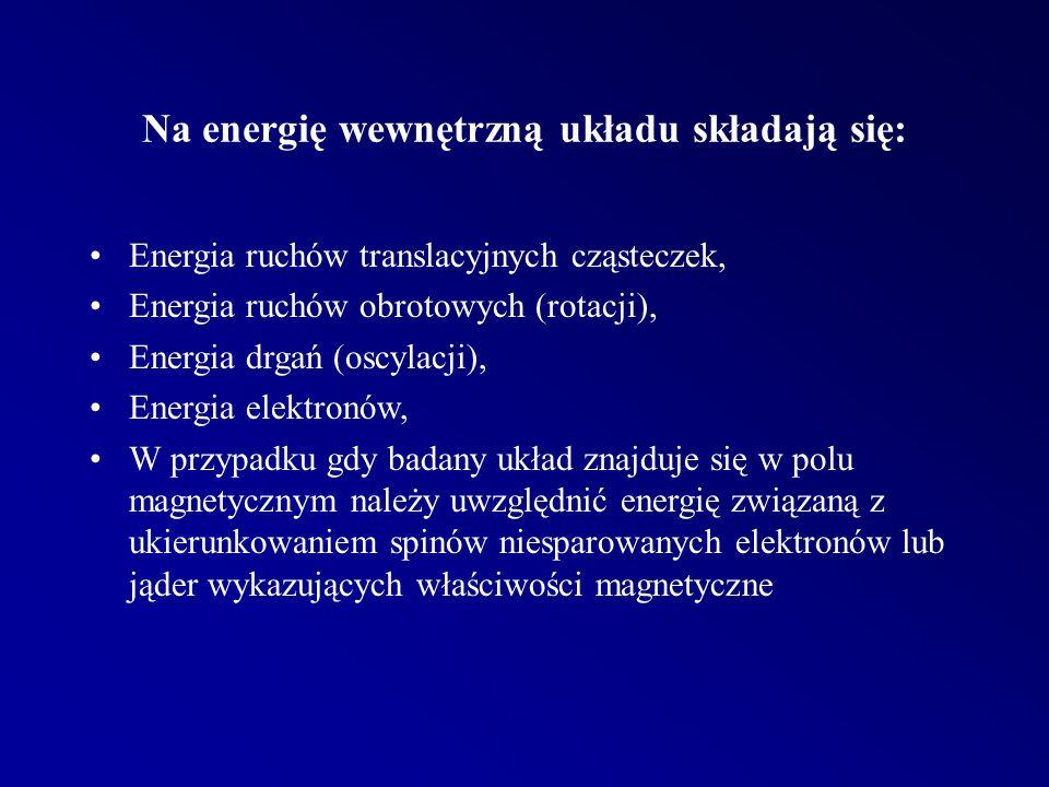 Na energię wewnętrzną układu składają się: Energia ruchów translacyjnych cząsteczek, Energia ruchów obrotowych (rotacji), Energia drgań (oscylacji), Energia elektronów, W przypadku gdy badany układ znajduje się w polu magnetycznym należy uwzględnić energię związaną z ukierunkowaniem spinów niesparowanych elektronów lub jąder wykazujących właściwości magnetyczne