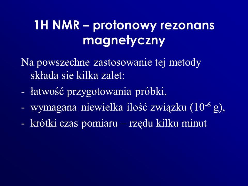 1H NMR – protonowy rezonans magnetyczny Na powszechne zastosowanie tej metody składa sie kilka zalet: -łatwość przygotowania próbki, -wymagana niewiel