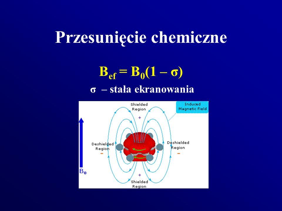 Przesunięcie chemiczne B ef = B 0 (1 – σ) σ – stała ekranowania