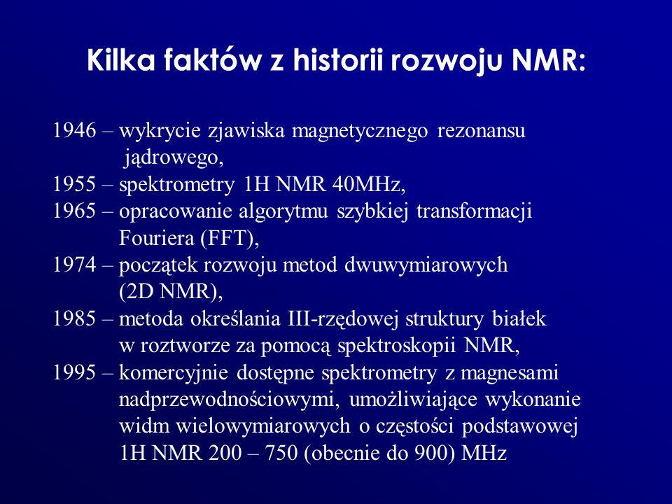 Kilka faktów z historii rozwoju NMR: 1946 – wykrycie zjawiska magnetycznego rezonansu jądrowego, 1955 – spektrometry 1H NMR 40MHz, 1965 – opracowanie