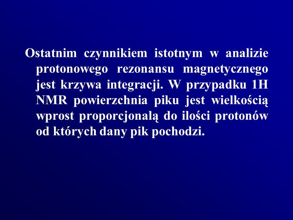 Ostatnim czynnikiem istotnym w analizie protonowego rezonansu magnetycznego jest krzywa integracji. W przypadku 1H NMR powierzchnia piku jest wielkośc
