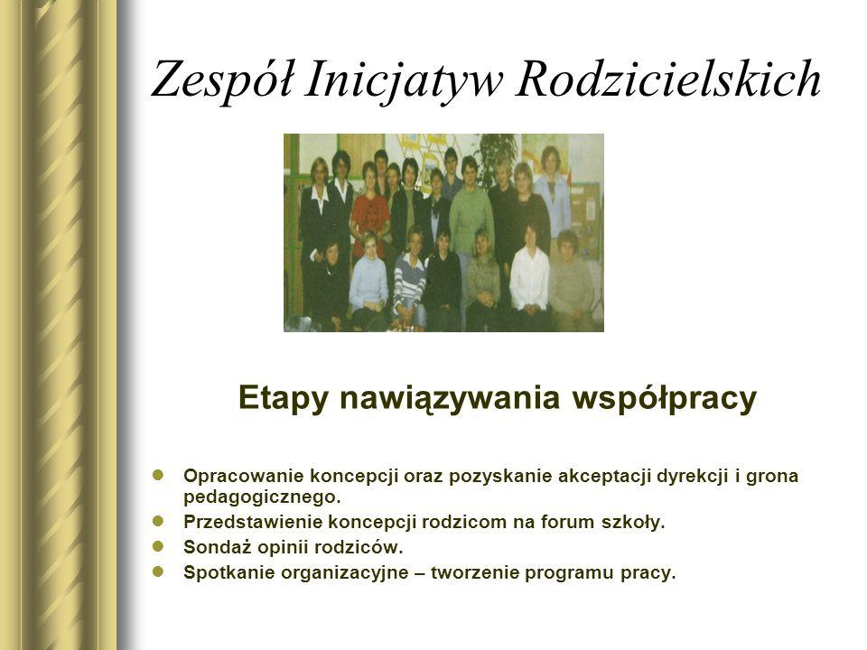 Zespół Inicjatyw Rodzicielskich Etapy nawiązywania współpracy Opracowanie koncepcji oraz pozyskanie akceptacji dyrekcji i grona pedagogicznego.