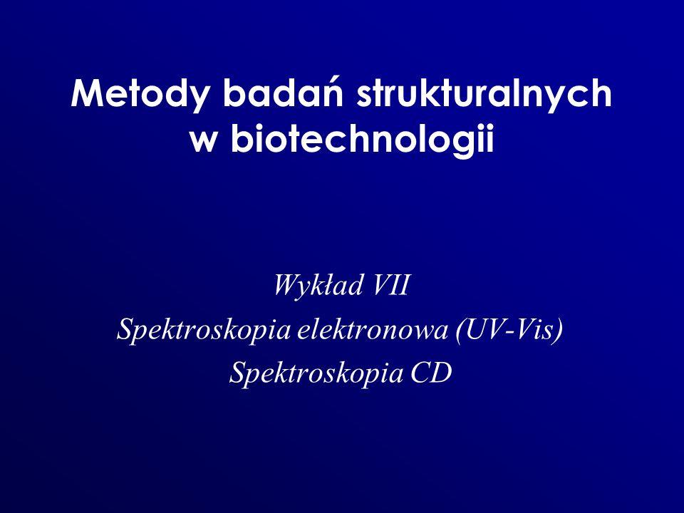 Metody badań strukturalnych w biotechnologii Wykład VII Spektroskopia elektronowa (UV-Vis) Spektroskopia CD