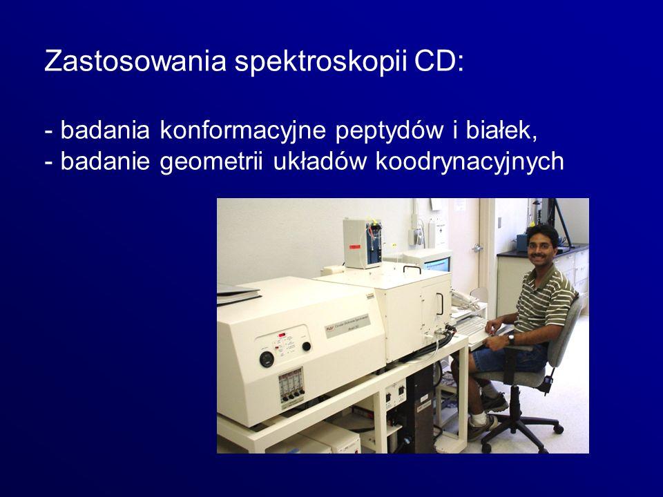 Zastosowania spektroskopii CD: - badania konformacyjne peptydów i białek, - badanie geometrii układów koodrynacyjnych