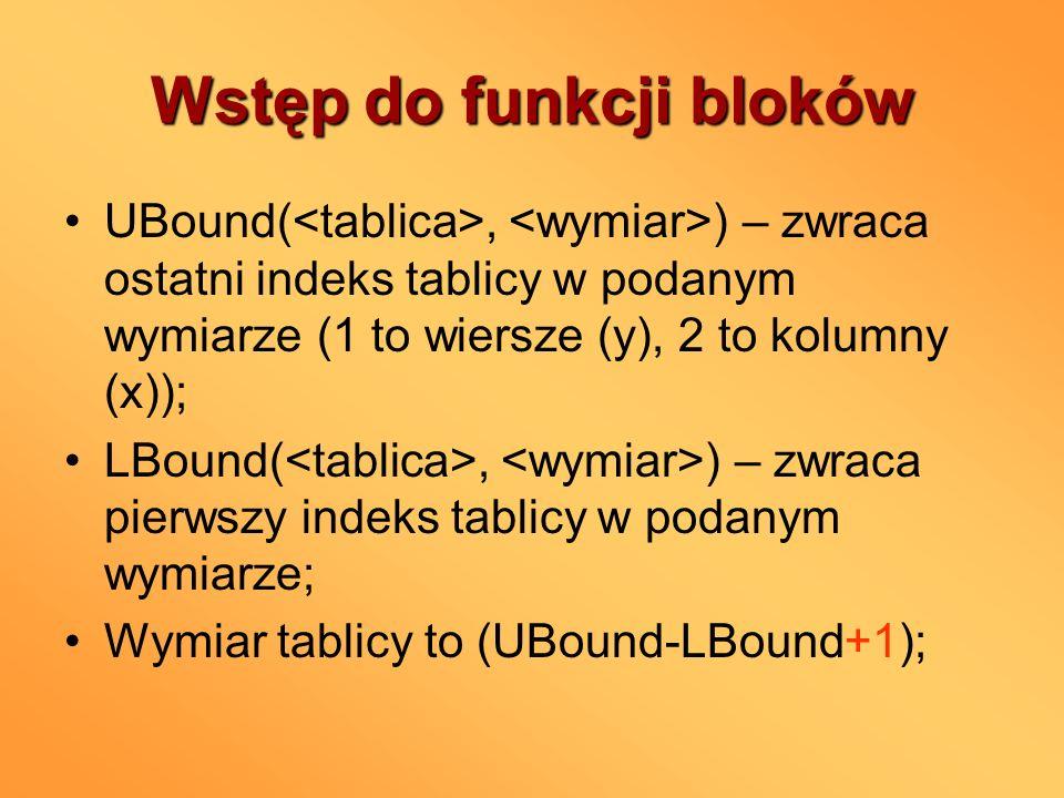 Wstęp do funkcji bloków UBound(, ) – zwraca ostatni indeks tablicy w podanym wymiarze (1 to wiersze (y), 2 to kolumny (x)); LBound(, ) – zwraca pierws