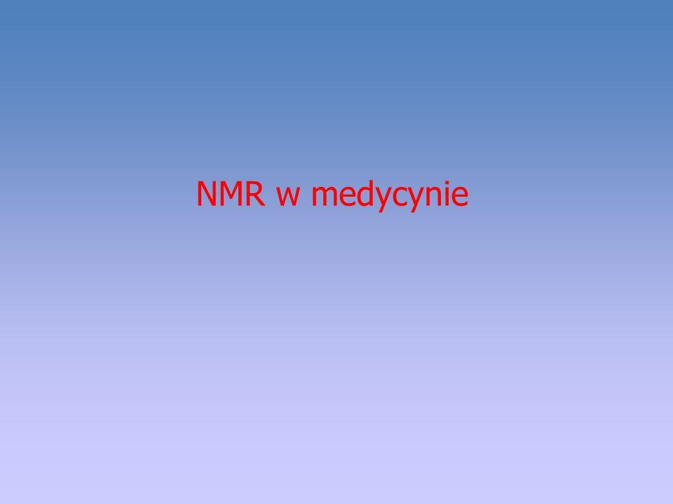 Spektroskopia in vivo – MRS Dziedziny medyczne, w których spektroskopia NMR dużej zdolności rozdzielczej może być bardzo przydatna: Diagnostyka medyczna Farmakokinetyka i monitorowanie terapii, a w tym: określanie poziomu leku w organizmie, ustalanie optymalnego dla danego pacjenta dawkowania, kontrola wydalania i in.