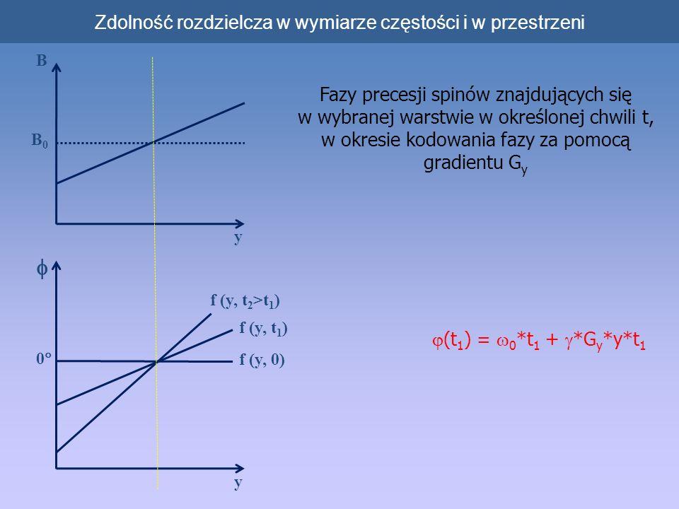 Zdolność rozdzielcza w wymiarze częstości i w przestrzeni Fazy precesji spinów znajdujących się w wybranej warstwie w określonej chwili t, w okresie kodowania fazy za pomocą gradientu G y B y B0B0 y f (y, t 2 >t 1 ) f (y, t 1 ) f (y, 0) 0 (t 1 ) = 0 *t 1 + *G y *y*t 1