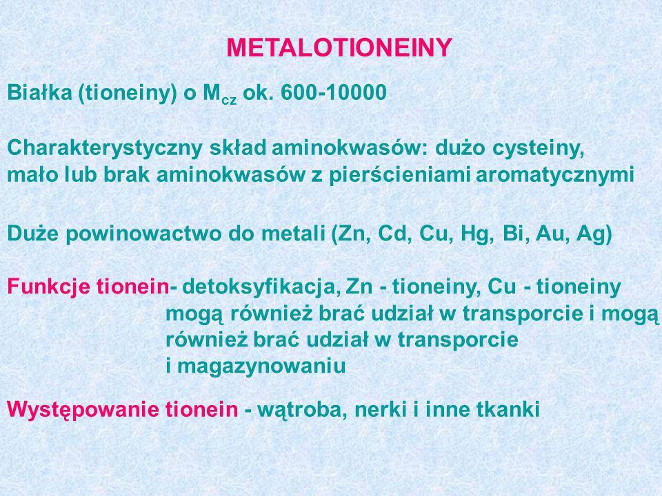 METALOTIONEINY Białka (tioneiny) o M cz ok. 600-10000 Charakterystyczny skład aminokwasów: dużo cysteiny, mało lub brak aminokwasów z pierścieniami ar