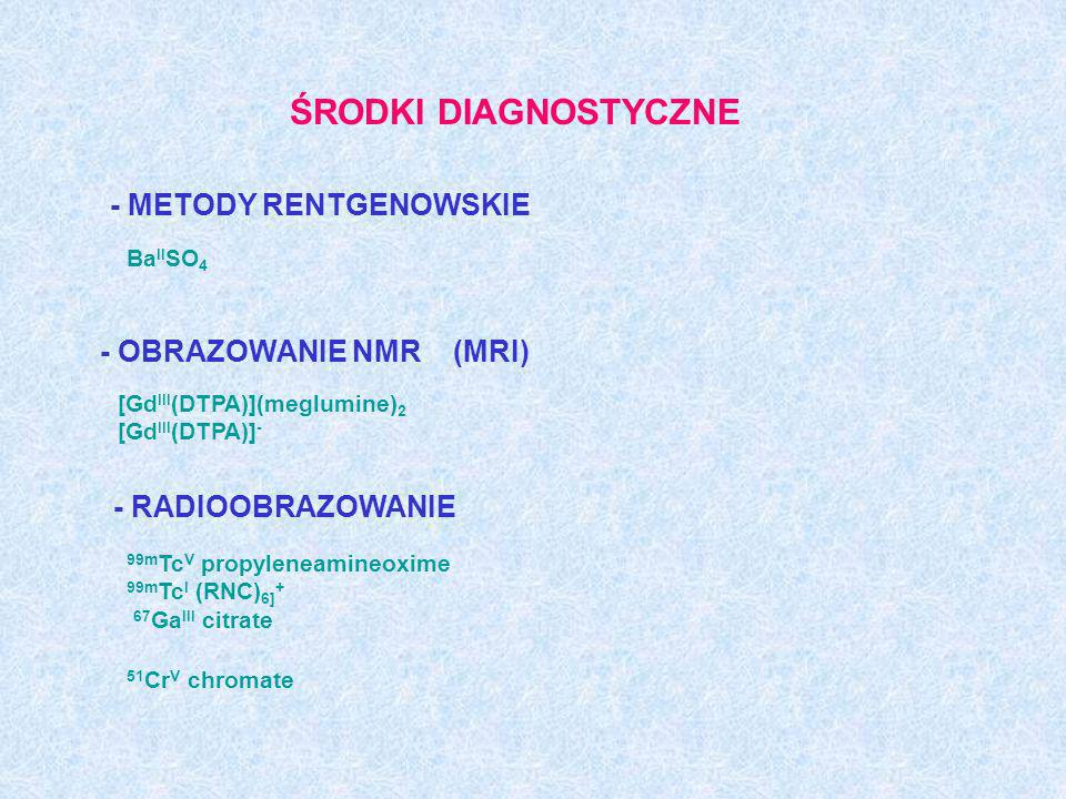 ŚRODKI DIAGNOSTYCZNE 99m Tc V propyleneamineoxime 99m Tc I (RNC) 6] + 67 Ga III citrate - RADIOOBRAZOWANIE 51 Cr V chromate - METODY RENTGENOWSKIE Ba
