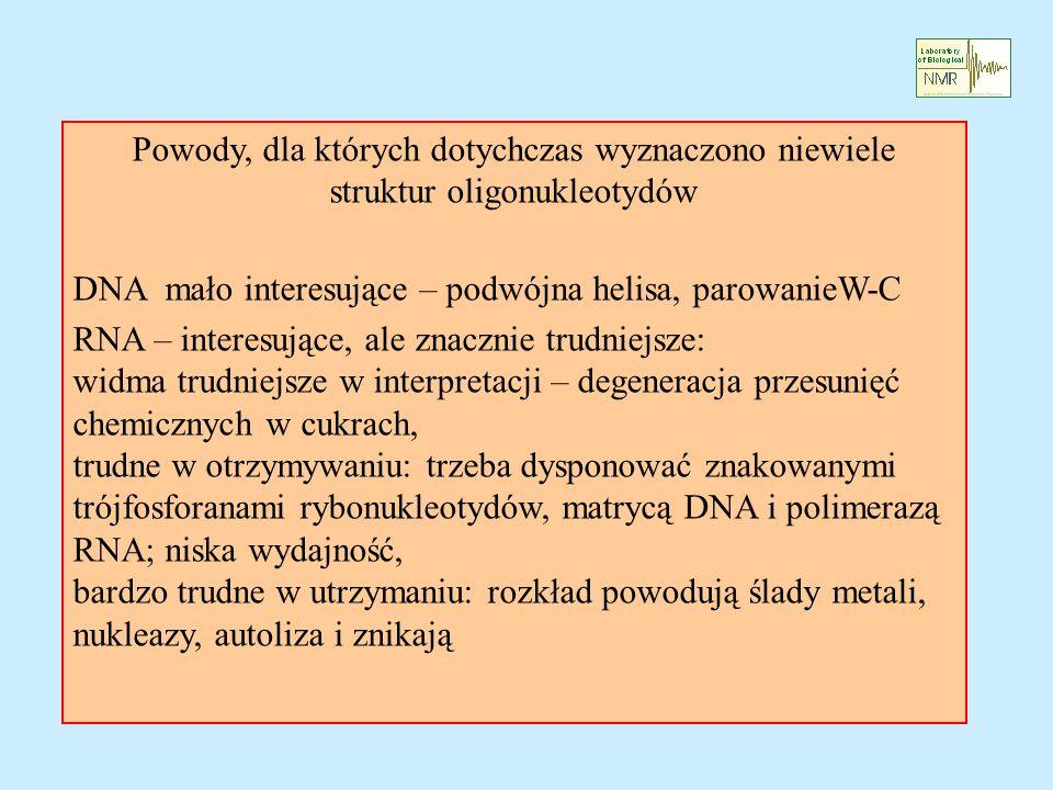 Powody, dla których dotychczas wyznaczono niewiele struktur oligonukleotydów DNA mało interesujące – podwójna helisa, parowanieW-C RNA – interesujące, ale znacznie trudniejsze: widma trudniejsze w interpretacji – degeneracja przesunięć chemicznych w cukrach, trudne w otrzymywaniu: trzeba dysponować znakowanymi trójfosforanami rybonukleotydów, matrycą DNA i polimerazą RNA; niska wydajność, bardzo trudne w utrzymaniu: rozkład powodują ślady metali, nukleazy, autoliza i znikają
