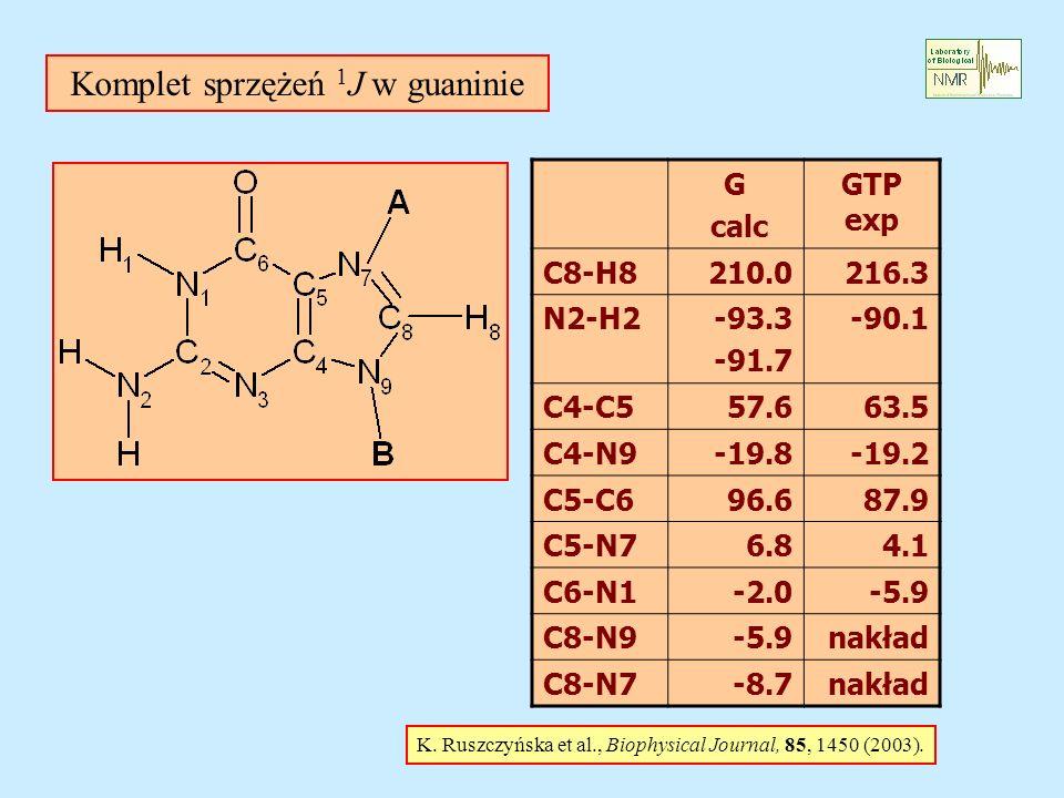 Komplet sprzężeń 1 J w guaninie K.Ruszczyńska et al., Biophysical Journal, 85, 1450 (2003).