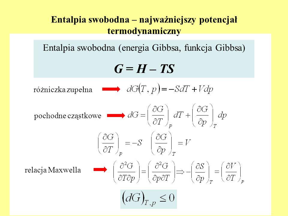 Entalpia swobodna – najważniejszy potencjał termodynamiczny różniczka zupełna Entalpia swobodna (energia Gibbsa, funkcja Gibbsa) G = H – TS pochodne c