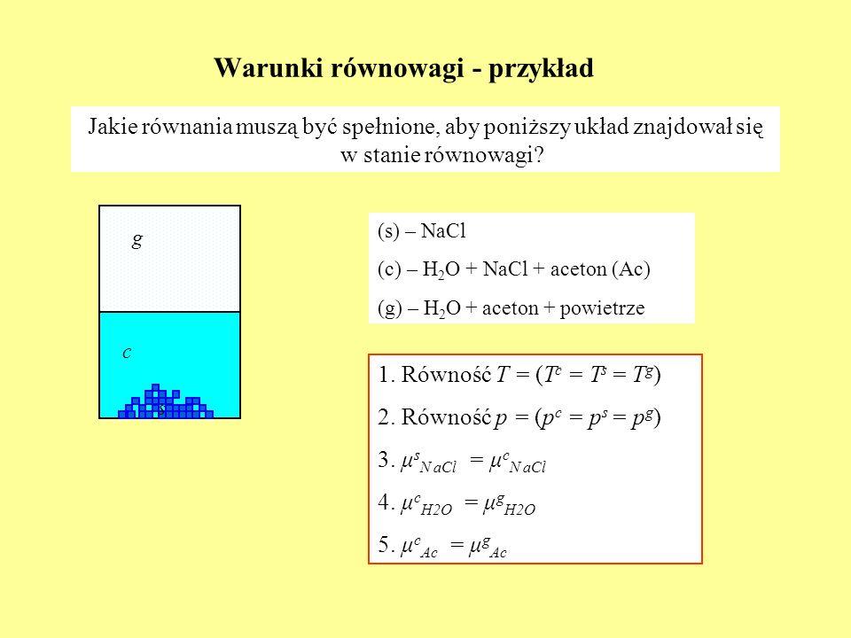 Warunki równowagi - przykład c Jakie równania muszą być spełnione, aby poniższy układ znajdował się w stanie równowagi? g (s) – NaCl (c) – H 2 O + NaC