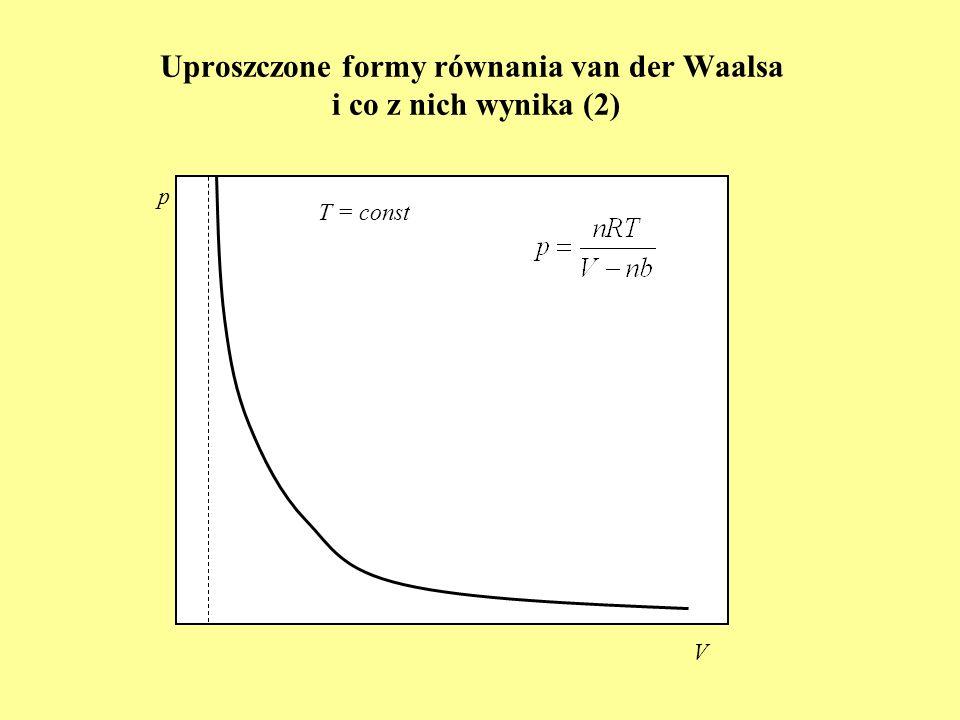 Uproszczone formy równania van der Waalsa i co z nich wynika (2) p V T = const