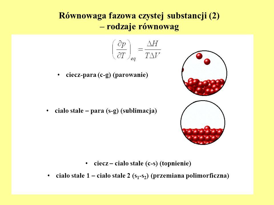 Równowaga fazowa czystej substancji (2) – rodzaje równowag c iecz – ciało stałe (c-s) (topnienie) c iało stałe 1 – ciało stałe 2 (s 1 -s 2 ) (przemian