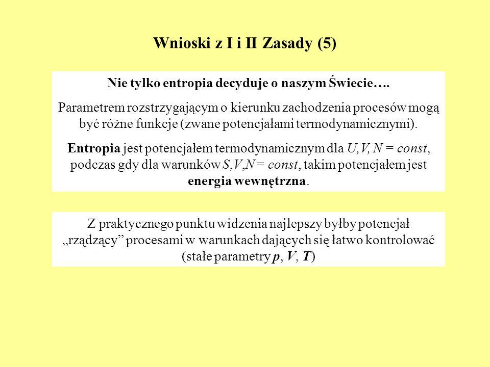 Wnioski z I i II Zasady (5) Nie tylko entropia decyduje o naszym Świecie…. Parametrem rozstrzygającym o kierunku zachodzenia procesów mogą być różne f