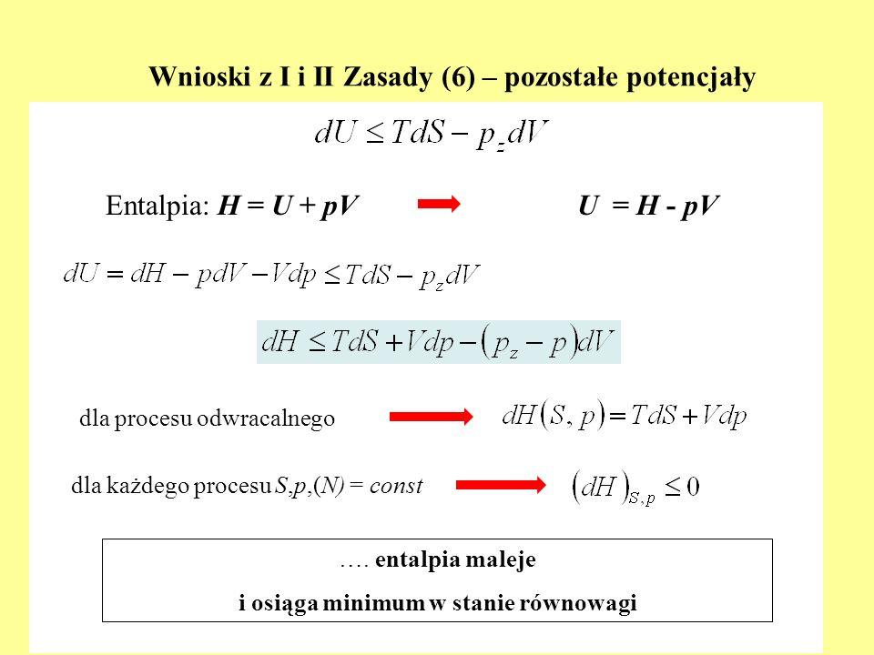 Uproszczone formy równania van der Waalsa i co z nich wynika (5) Wniosek – występowanie fazy ciekłej jest wspólnym skutkiem istnienia oddziaływań przyciągających i odpychających