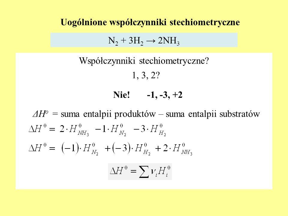 Uogólnione współczynniki stechiometryczne N 2 + 3H 2 2NH 3 ΔH o = suma entalpii produktów – suma entalpii substratów Współczynniki stechiometryczne? 1