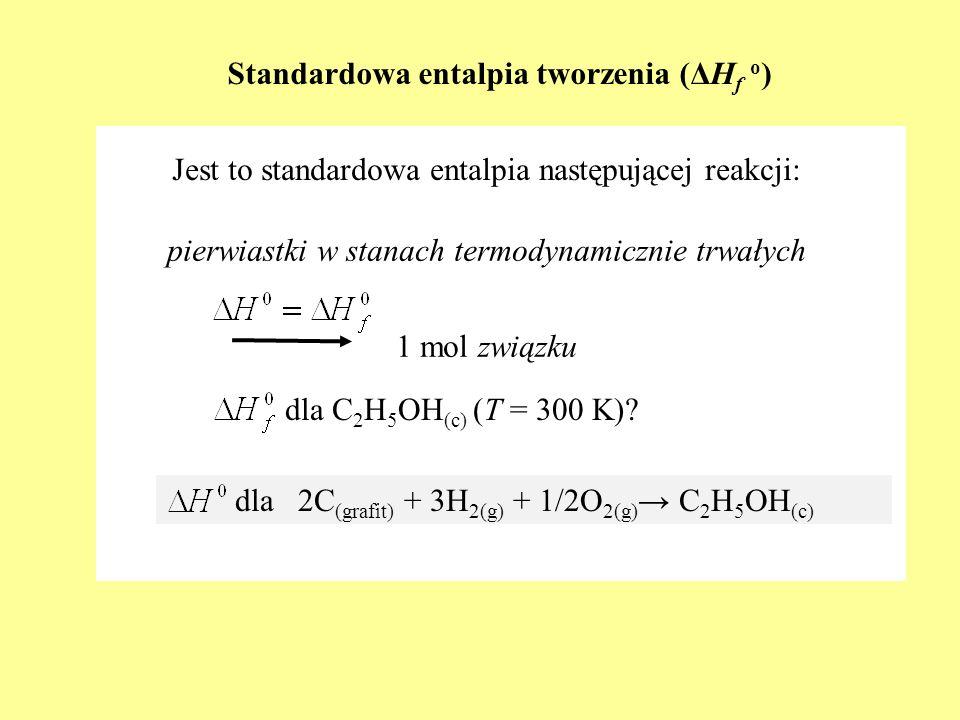 Standardowa entalpia tworzenia (ΔH f o ) Jest to standardowa entalpia następującej reakcji: pierwiastki w stanach termodynamicznie trwałych 1 mol zwią