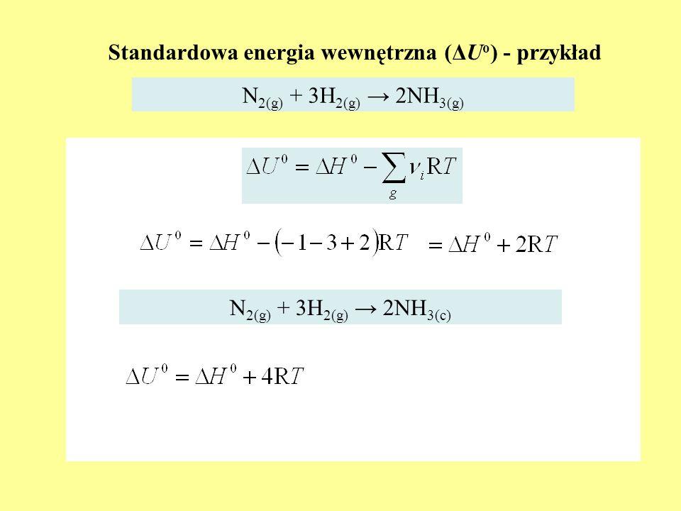 Standardowa energia wewnętrzna (ΔU o ) - przykład N 2(g) + 3H 2(g) 2NH 3(g) N 2(g) + 3H 2(g) 2NH 3(c)