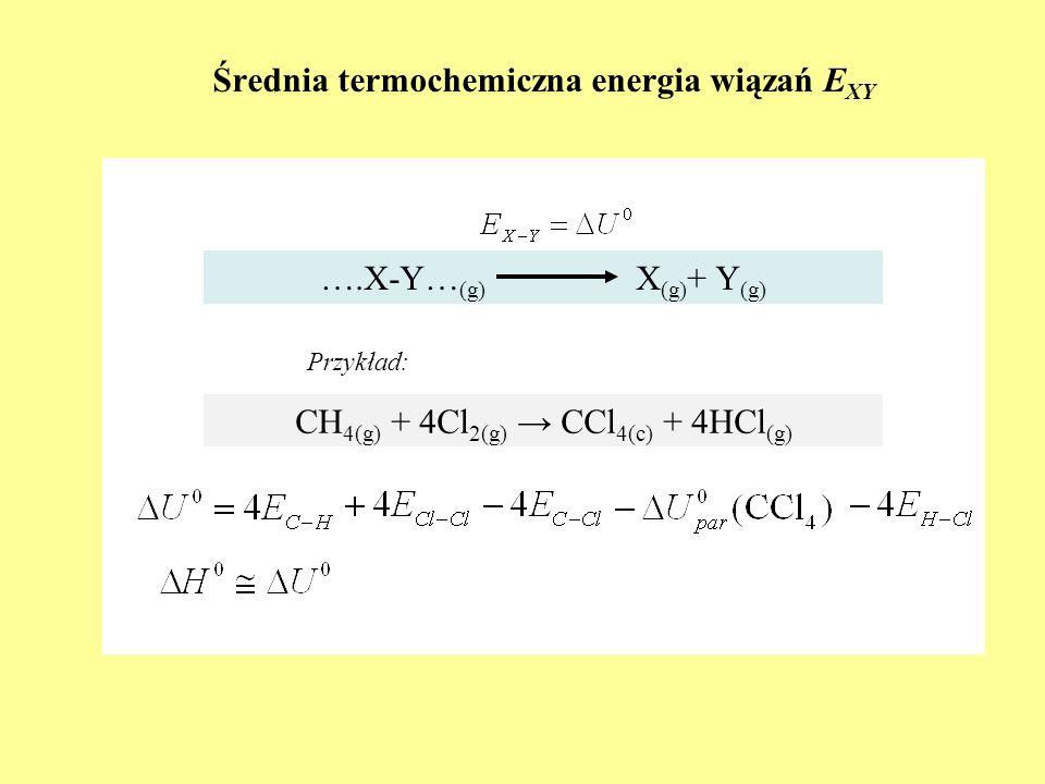 Średnia termochemiczna energia wiązań E XY ….X-Y… (g) X (g) + Y (g) CH 4(g) + 4Cl 2(g) CCl 4(c) + 4HCl (g) Przykład: