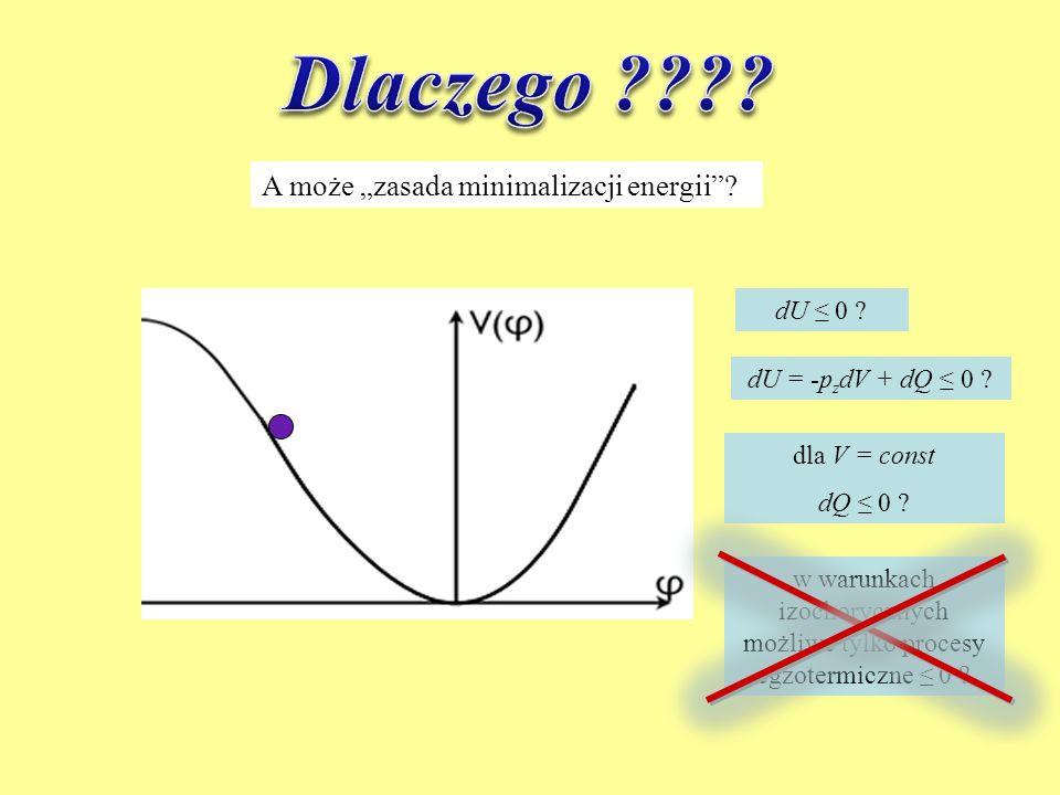 A może zasada minimalizacji energii? dU 0 ? dU = -p z dV + dQ 0 ? dla V = const dQ 0 ? w warunkach izochorycznych możliwe tylko procesy egzotermiczne