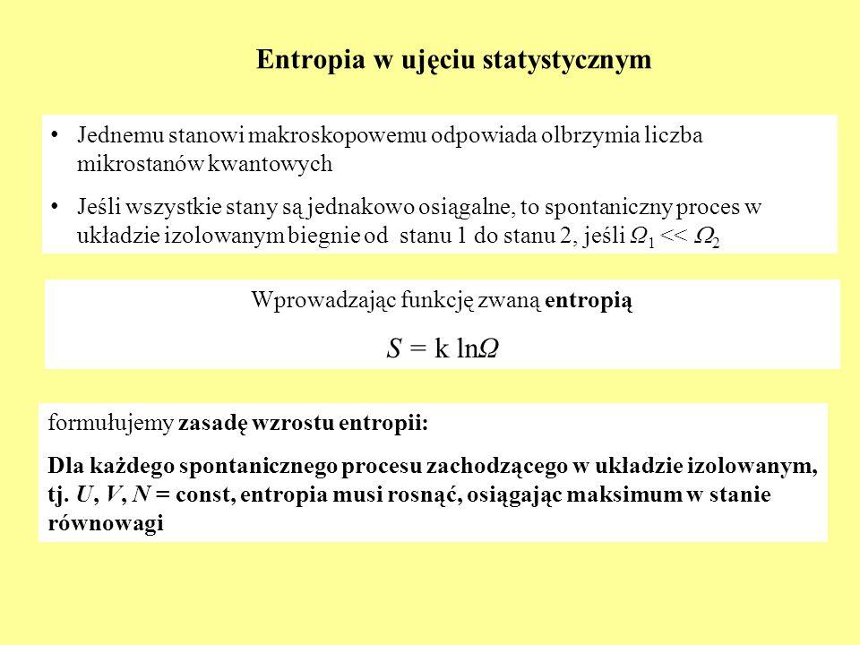 Entropia w ujęciu statystycznym formułujemy zasadę wzrostu entropii: Dla każdego spontanicznego procesu zachodzącego w układzie izolowanym, tj. U, V,