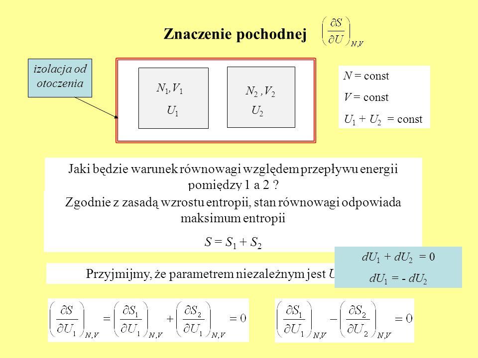 Znaczenie pochodnej N 1,V 1 N 2,V 2 N = const V = const U 1 + U 2 = const Jaki będzie warunek równowagi względem przepływu energii pomiędzy 1 a 2 ? U