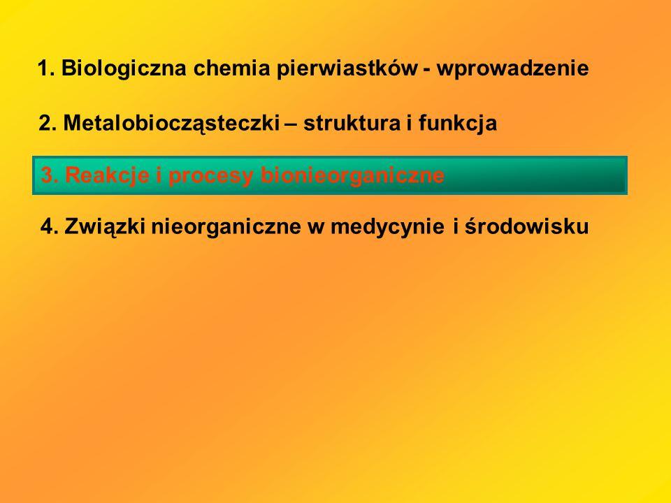 1. Biologiczna chemia pierwiastków - wprowadzenie 2. Metalobiocząsteczki – struktura i funkcja 3. Reakcje i procesy bionieorganiczne 4. Związki nieorg