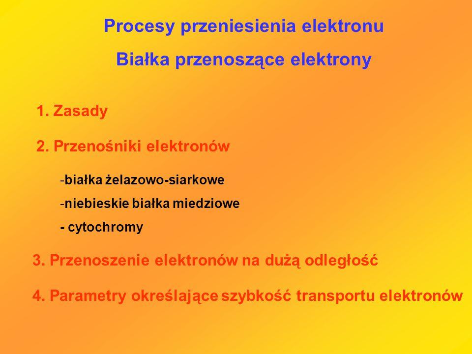 Procesy przeniesienia elektronu Białka przenoszące elektrony 1. Zasady 2. Przenośniki elektronów -białka żelazowo-siarkowe -niebieskie białka miedziow
