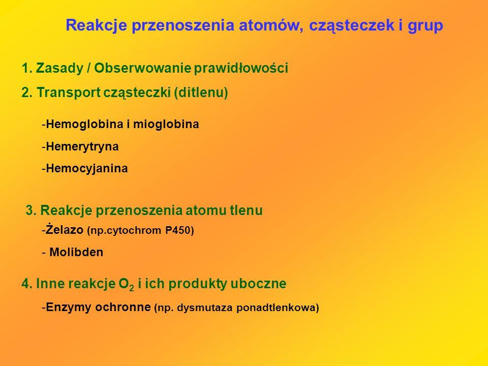 Reakcje przenoszenia atomów, cząsteczek i grup 1. Zasady / Obserwowanie prawidłowości 2. Transport cząsteczki (ditlenu) -Hemoglobina i mioglobina -Hem