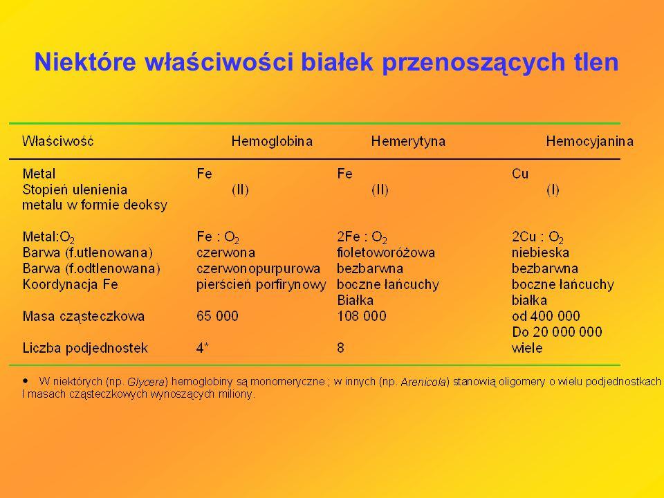Niektóre właściwości białek przenoszących tlen