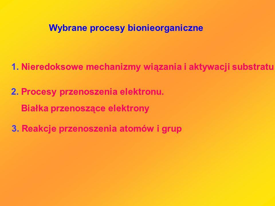 1. Nieredoksowe mechanizmy wiązania i aktywacji substratu 2. Procesy przenoszenia elektronu. Białka przenoszące elektrony 3. Reakcje przenoszenia atom
